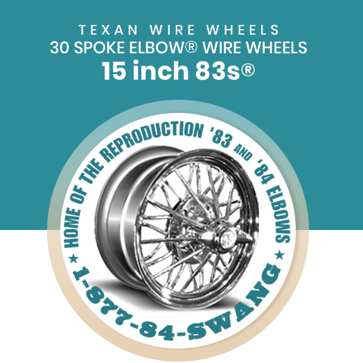 Texan Wire Wheels 15 inch 83s 30 Spoke Wire Wheels