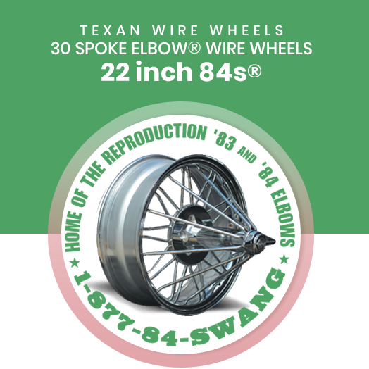 Texan Wire Wheels 22 inch 84s 30 Spoke Wire Wheels